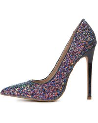 Shoe Republic | Hyatt Close Toe Glitter Black Pump | Lyst