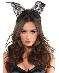 Leg Avenue - Scalloped Lace Bunny Ears In Black - Lyst