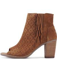 TOMS - Majorca Cinnamon Suede Perforated Fringe Peep Toe Booties - Lyst