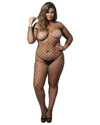 c4c3763bb4 Leg Avenue - Fence Net Off The Shoulder Bodystocking. Long Sleeved Plus Si  Black -
