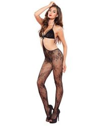 53529f44c4 Leg Avenue - Floral Lace Strappy Cut Out Bodystocking In Black - Lyst