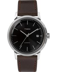 Timex - Watch Marlin Automatic 40mm Leather Strap Stainless Steel/brown/black - Lyst