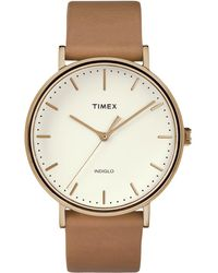 Timex - Watch Unisex Fairfield 41mm Leather Strap Rose Gold-tone/tan/natural - Lyst