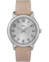 Timex - Watch New England 36mm Leather Strap Silver-tone/tan/cream - Lyst