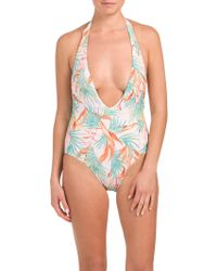 f1c0a7df2e74a Tj Maxx Low Back One-piece Swimsuit in Blue - Lyst