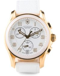 Tj Maxx - Women's Swiss Made Chronograph White Leather Strap Watch - Lyst