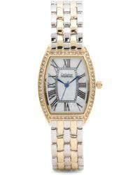 Tj Maxx - Women's Two Tone Crystal Bezel Tank Bracelet Watch - Lyst
