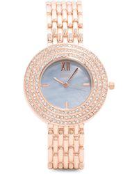 Tj Maxx - Women's Crystal Halo Bezel Rose Gold Tone Bracelet Watch - Lyst