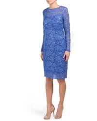 Tj Maxx - Petite Long Sleeve Glitter Lace Dress - Lyst