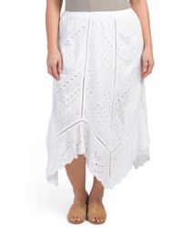 Tj Maxx - Plus Eyelet Handkerchief Hem Skirt - Lyst