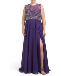 Tj Maxx - Plus Long Silk Gown With Beading - Lyst