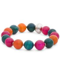 Tj Maxx - Made In Italy Bronze Multi Color Agate Beaded Bracelet - Lyst