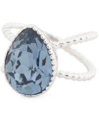 Tj Maxx - Sterling Silver Swarovski Crystal Teardrop Double Shaft Ring - Lyst