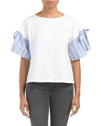 Tj Maxx - Knit Top With Woven Sleeve - Lyst