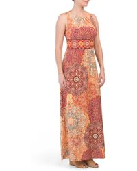 Tj Maxx - Pleat Neck Maxi Dahlias Print Dress - Lyst