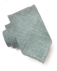 Drake's Linen Weave Tie In Green