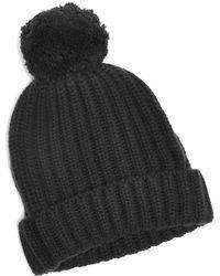 Corgi - Big Pom Knit Cashmere Hat In Charcoal - Lyst