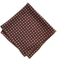 Drake's - Burgundy/brown Spot Printed Pocket Square - Lyst
