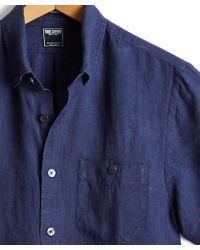 Todd Snyder - Short Sleeve Linen Shirt In Indigo - Lyst