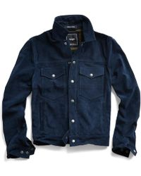 Todd Snyder - Italian Suede Snap Front Dylan Jacket In Navy - Lyst