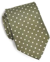 Drake's - Printed Silk Dot Tie In Olive - Lyst