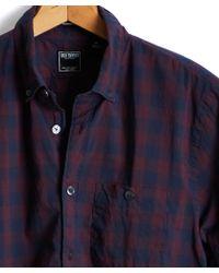 Todd Snyder - Slim Fit Italian Cotton Burgundy Plaid Shirt - Lyst