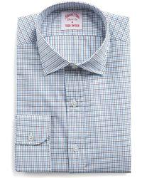 Hamilton - Aqua, Brown And White Tattersall Twill Shirt - Lyst