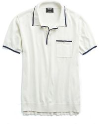 Todd Snyder - Italian Silk/cotton Tipped Knit Polo In White - Lyst