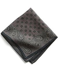 Todd Snyder - Italian Wool Charcoal Paisley Pocket Square - Lyst
