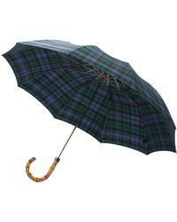 London Undercover - Bamboo Handle Plaid Telescopic Umbrella - Lyst