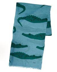Drake's - Blue And Green Crocodile Print Scarf - Lyst