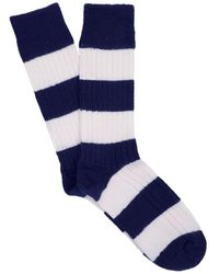 Corgi - Rugby Stripe Sock In Navy - Lyst