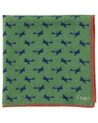 Drake's - Printed Planes Pocket Square - Lyst