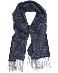 Drake's - Herringbone Scarf In Blue - Lyst