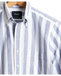 Drake's - Broad Stripe Oxford Button Down Shirt - Lyst