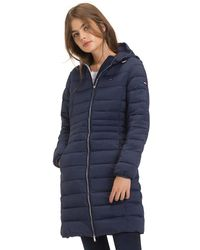 a67a56e5bc5fc Tommy Hilfiger Faux-fur-trim Hooded Puffer Coat in Blue - Lyst
