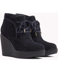 Tommy Hilfiger - Lace-up Wedge Boots - Lyst