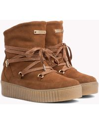 Tommy Hilfiger - Wool-lined Suede Flatform Boots - Lyst