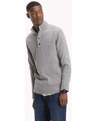 Tommy Hilfiger - Cotton Cashmere Button-neck Pullover - Lyst