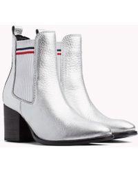 Tommy Hilfiger - Metallic Mid Heel Chelsea Boots - Lyst
