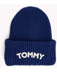 8588238df22 Tommy Hilfiger Wool Blend Pom Pom Beanie in Blue - Lyst