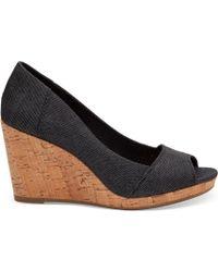 TOMS - Black Denim Women's Stella Peep-toe Wedges - Lyst