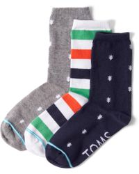 TOMS - 3 Pack Pattern Woven Womens Crew Socks - Lyst