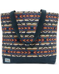 TOMS - Blue Geometric Canvas Transport Tote - Lyst
