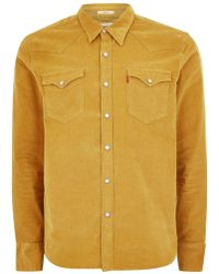 TOPMAN - Levi's Yellow Corduroy Western Yoking Shirt - Lyst