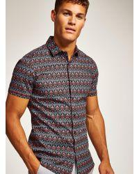 TOPMAN - Mirrored Feather Short Sleeve Shirt - Lyst