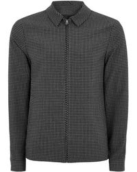 TOPMAN - Grey Gingham Zip Through Harrington Jacket - Lyst