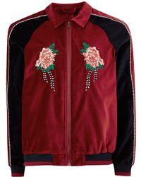 TOPMAN - Red Faux Suede Zip Through Jacket With Embroidery - Lyst