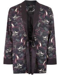 TOPMAN - Black Floral Kimono - Lyst