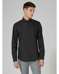 TOPMAN - Black Slim Fit Long Sleeve Shirt - Lyst